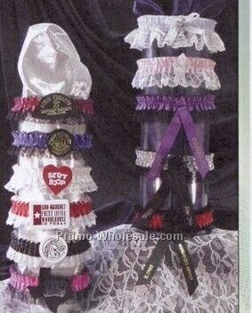 Single Bottom Laced Leg Garter W/Imprint Emblem & Ribbon - 1 Color