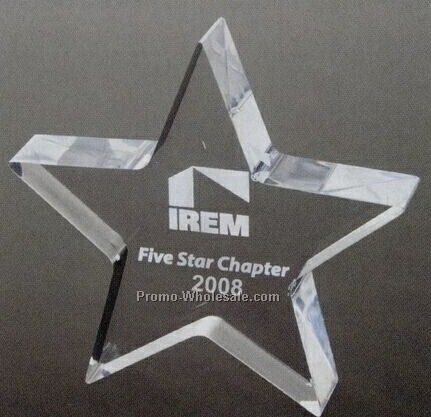 "1"" Clear Star Award/ Paperweight (Laser Engraved)"