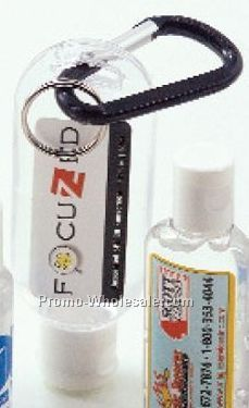 1.9 Oz. Clear Gel Hand Sanitizer In Carabiner Bottle