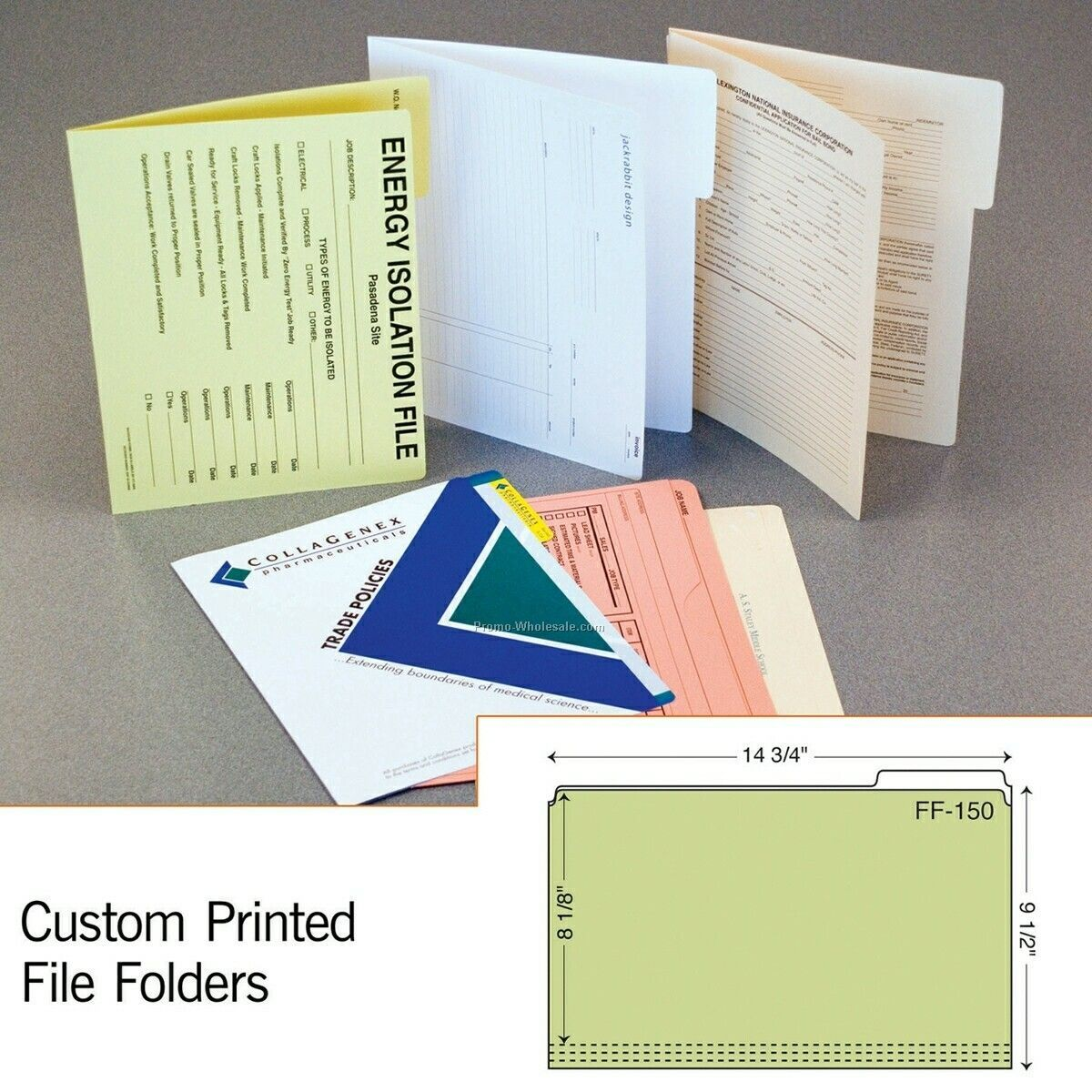 "11-3/4""x9-1/2"" File Folder W/ Full Tab & 1/4"" Score (Blank)"