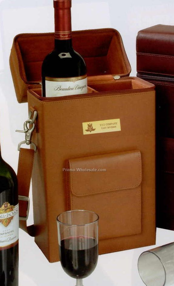 "13-1/2""x4-1/2""x3-5/8"" Leather Connoisseur Wine Carrier"