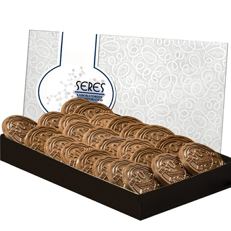 24 Cookies Topped With Chocolate In Large Box