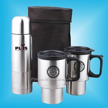 4 Pcs Engraved Travel Mug Set: 2 Mugs, 1 Thermal Bottle & Carrying Case