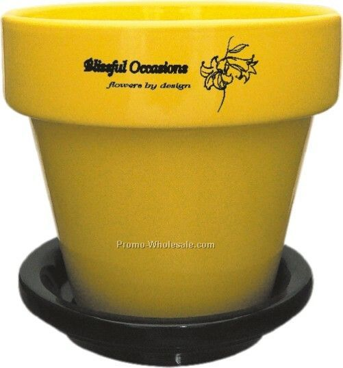 "5-1/2"" White Flower Pot W/Saucer (Screen Printed)"
