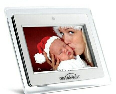"7"" Digital Photo Frame W/ Built In Table Stand, Control & Remote (White)"