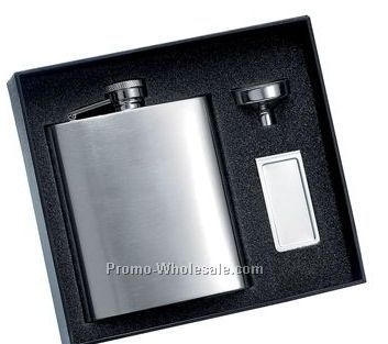 8 Oz. Matte Finish Stainless Steel Flask And Matching Money Clip With Silve