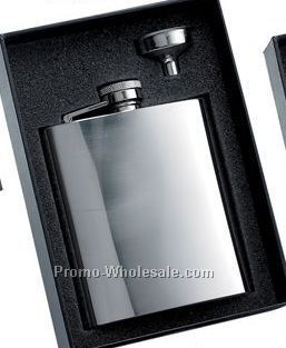 8 Oz Stainless Steel Flask With Plain Front And Silver Funnel In Black Gift