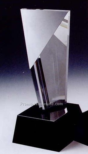 "9""x4"" Black Optic Crystal Excellence Award W/ Cube Base"