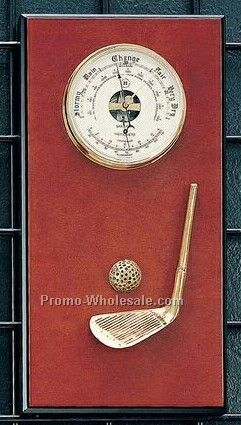 Brass Barometer/Thermometer On Burlwood Base With Golf Ornament