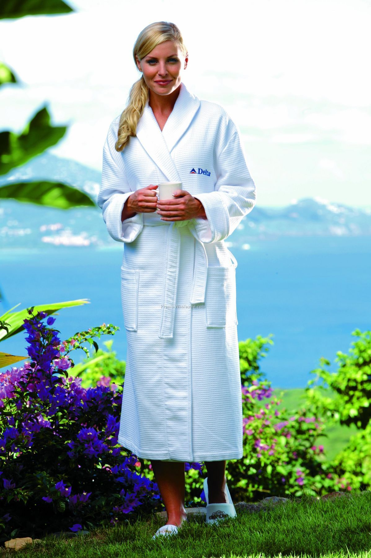 Cabana Bay Turkish Cotton Waffle Weave Terry Robe - One Size (Blank)