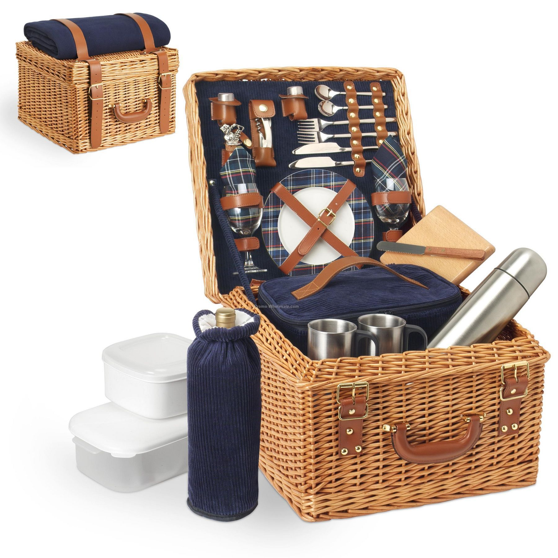 Canterbury English Style Willow Picnic Basket With Service For 2