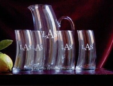 Certificate - Modern Curved Pitcher And Four Glasses Set