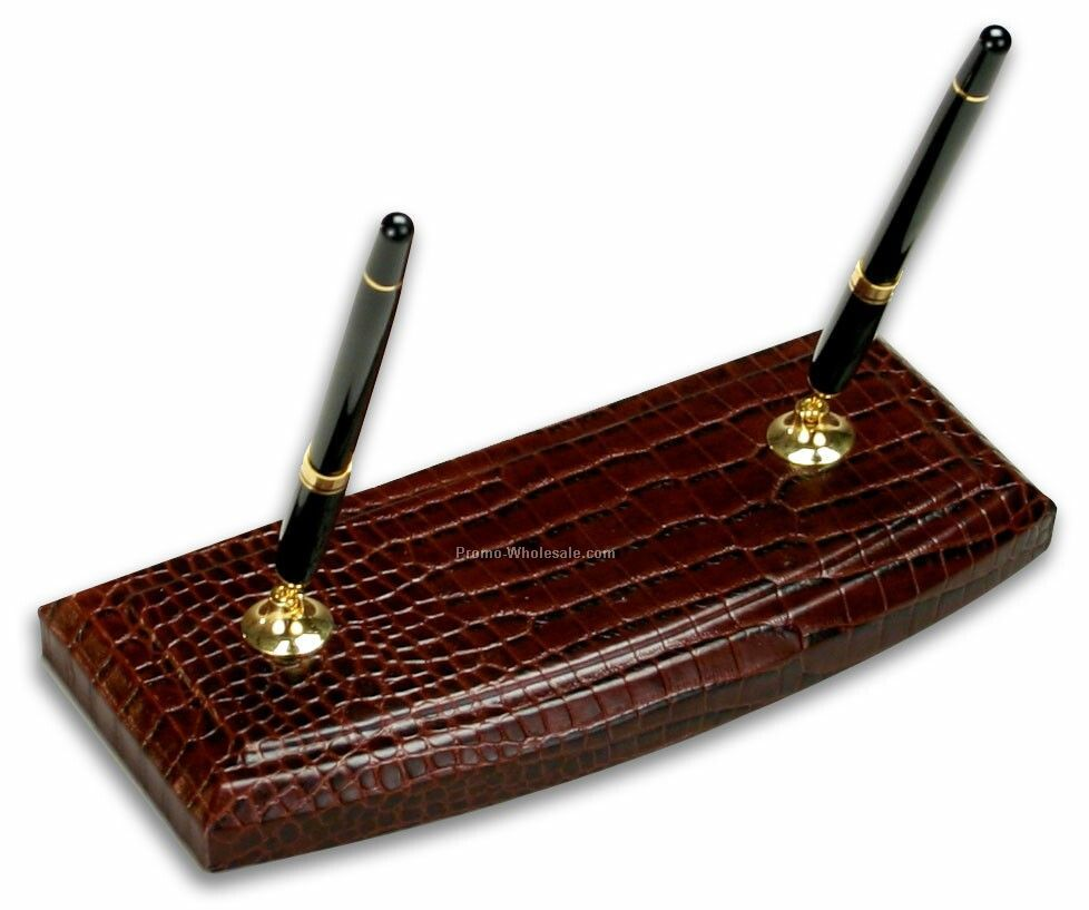 Crocodile Embossed Leather Double Pen Stand - Brown