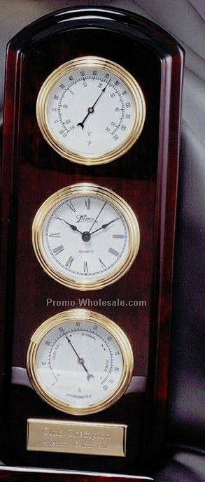 Elegant Rosewood Clock & Weather Station