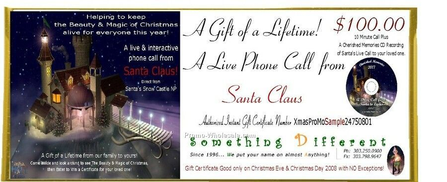Gift Certificate For Live Phone Call From Mr./Mrs. Santa CD Recording