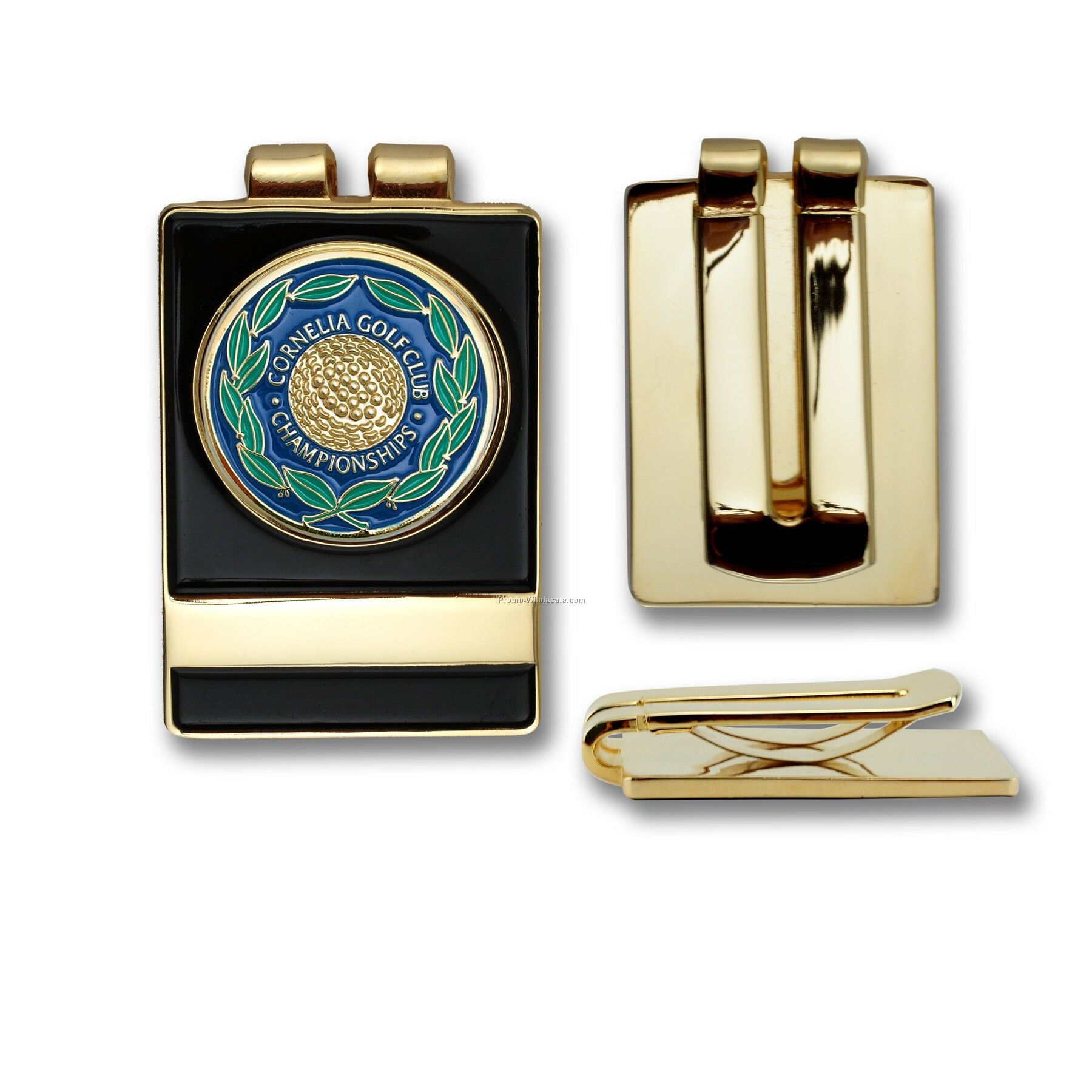 "Golf Belt / Money Clip With Custom Ball Marker - Iron (1"")"