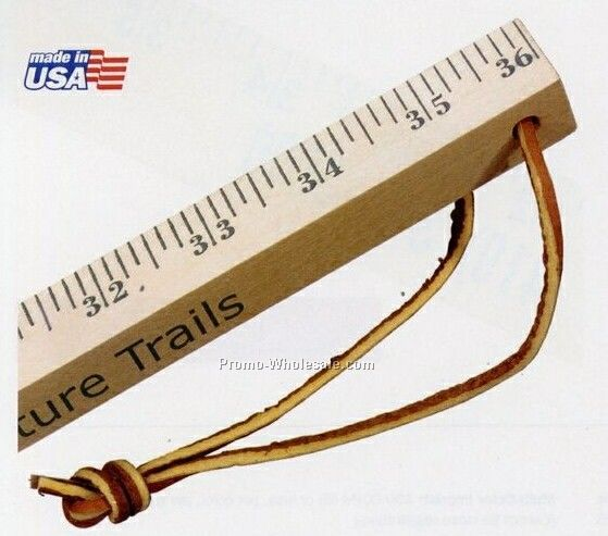 Natural Finish Walking Yard Stick With Leather Strap