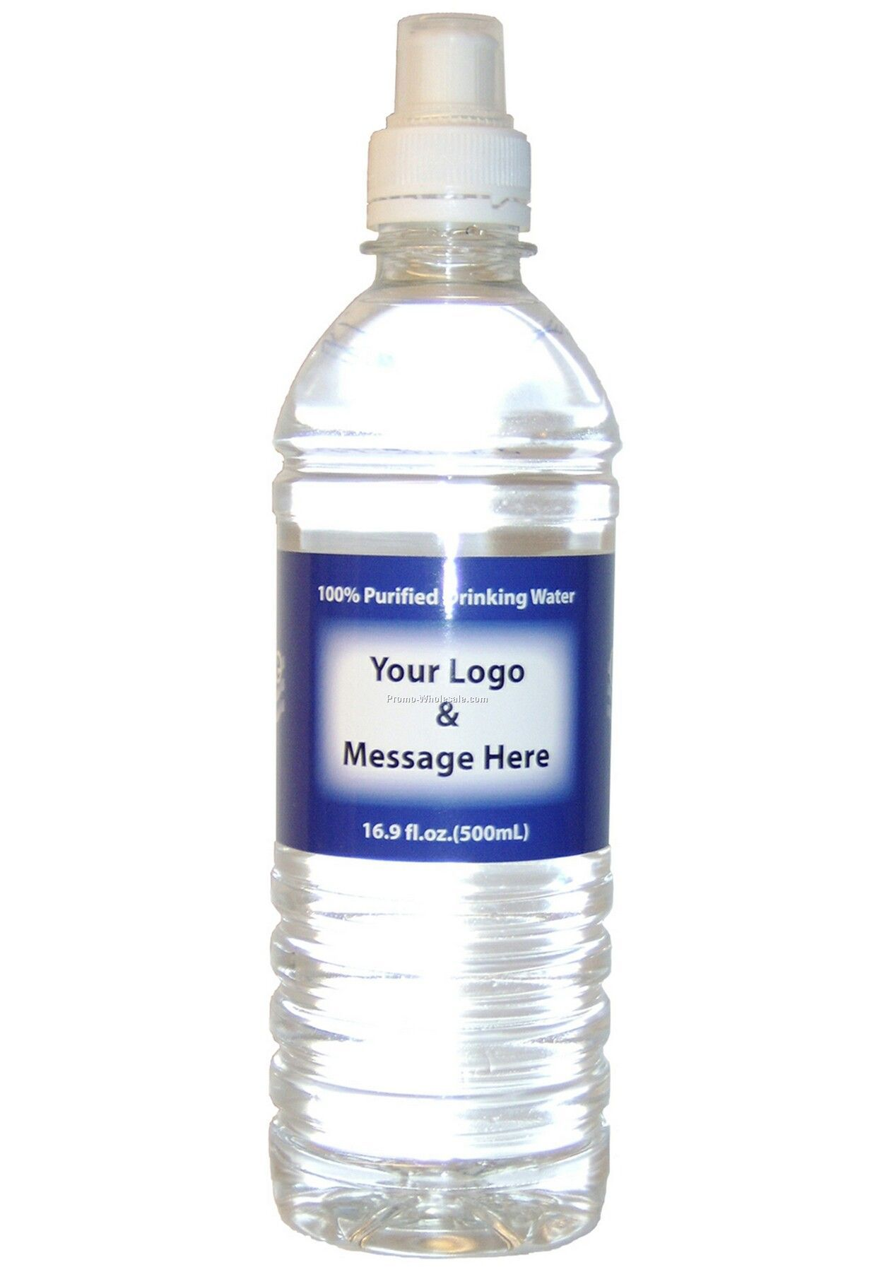 Private Labeled Bottled Water - 16.9 Oz. Sports Cap