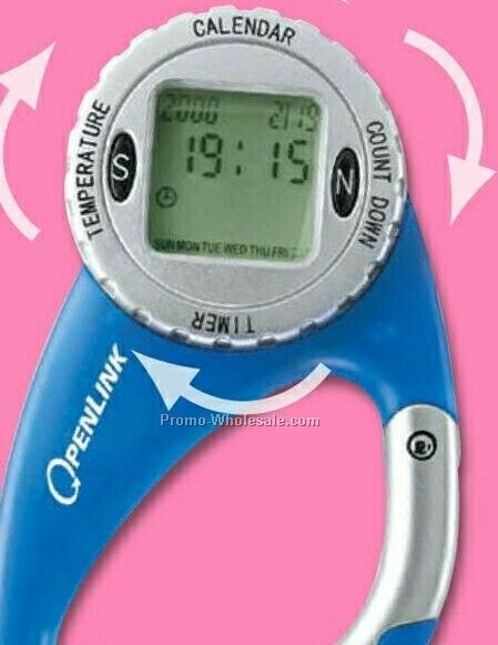 "Valumark Blue 4 Function Rotating Watch Carabiner 3-3/4""x2"""