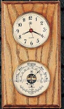 "11""x6""x2"" Brass Clock/Barometer/Thermometer On Mahogany Wood"
