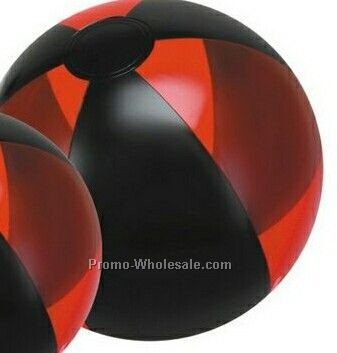 "16"" Inflatable Translucent Red And Black Beach Ball"