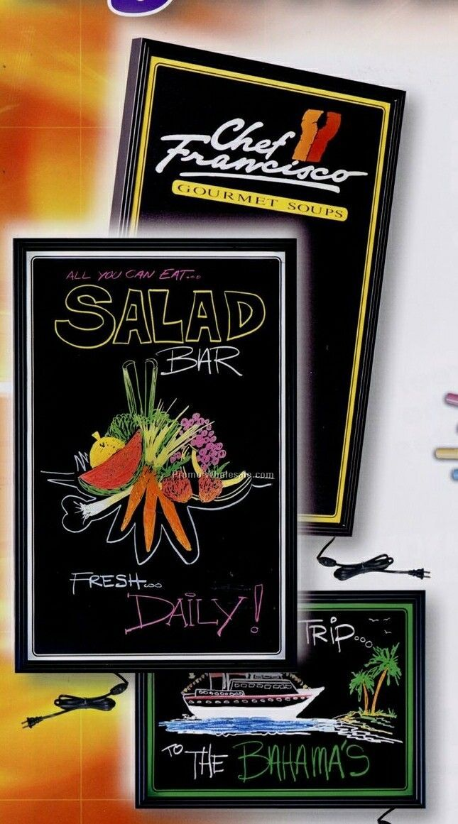 "17-1/2""x22-1/2"" Fluorescent Lighted Blackboards - Designer"