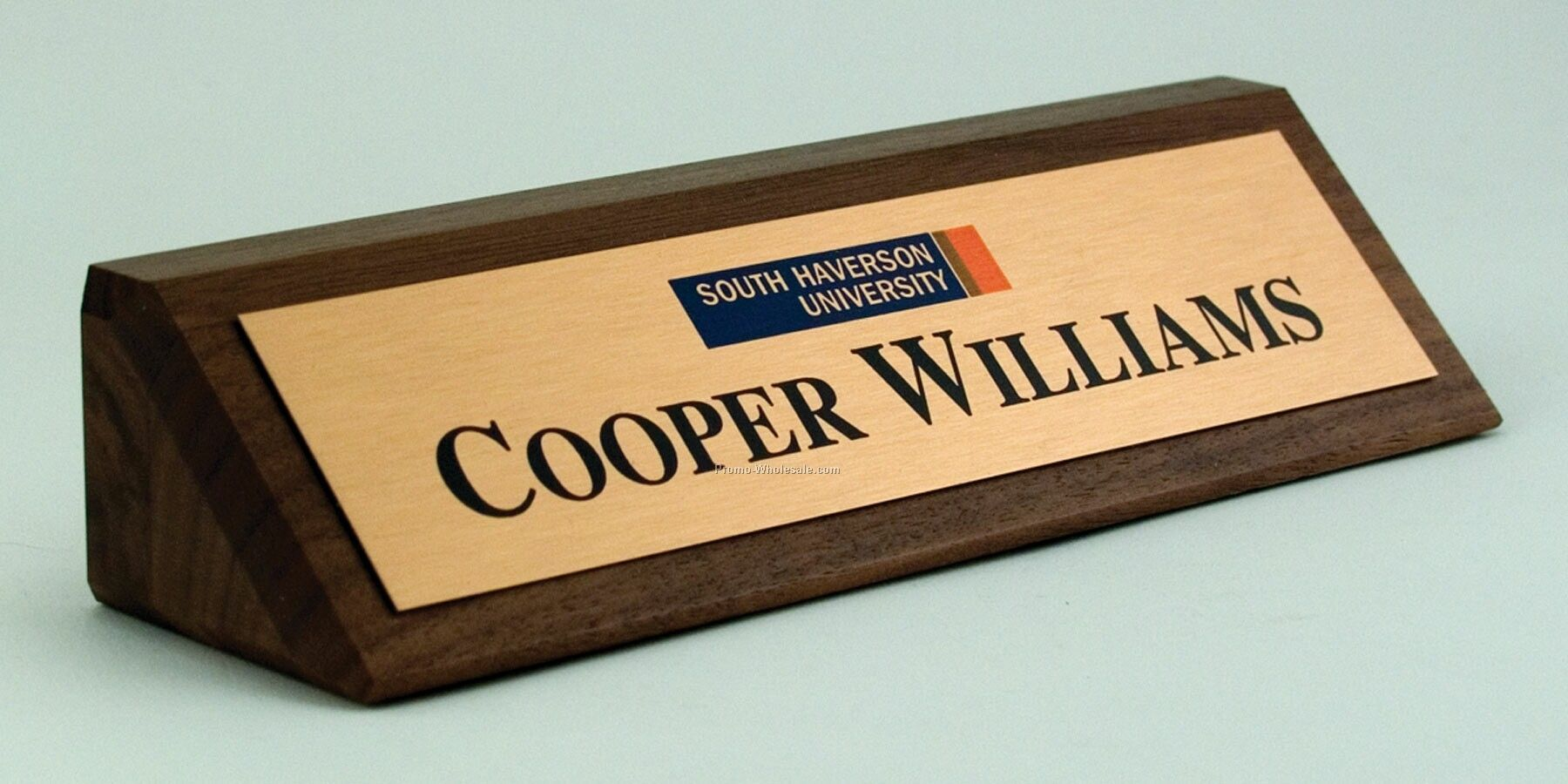 "2""x 8"" Solid Walnut Desk Nameplate With Premier Color Plate"