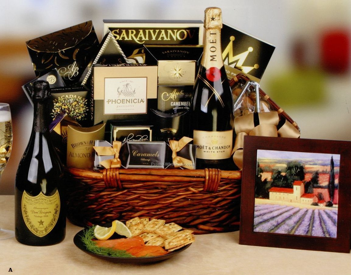 "26""x16""x8"" Celebrate In Style The Royal Champagne Basket W/ Treats"