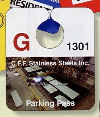 "3-1/8""x3-5/8"" Screen Print White Gloss Plastic Parking Tag"