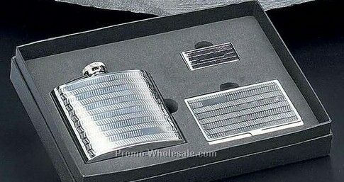 3 Piece Set With 6 Oz Flask, Business Card Case & Money Clip