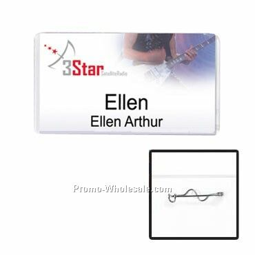 "3""x1-1/2"" Vinyl Nametag Holder W/ Pin Attachment"