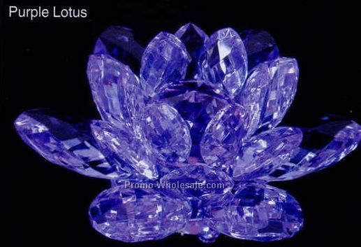 "4"" Optic Crystal Purple Lotus Figurine"