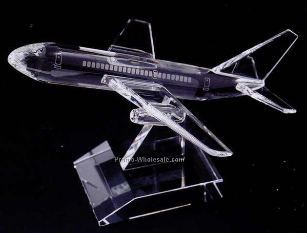"5-3/4""x9""x7-1/2"" Optic Crystal Airplane Figurine"