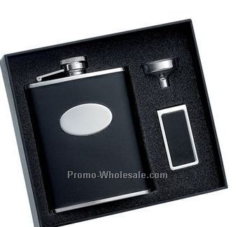 6 Oz. Bonded Black Leather Stainless Steel Flask With Oval Convex And Match