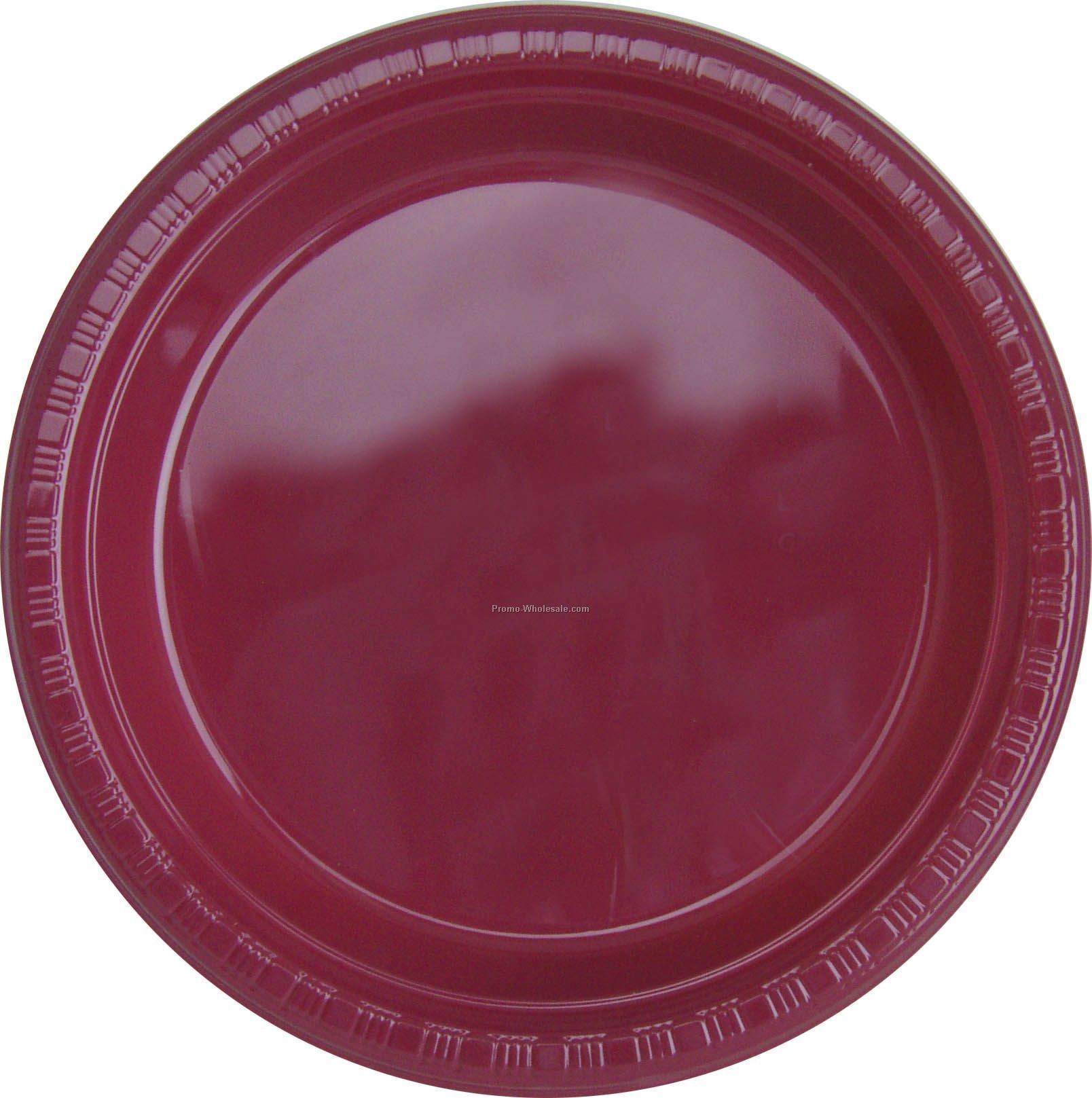 "9"" Burgundy Royale Red Colorware Paper Plate"