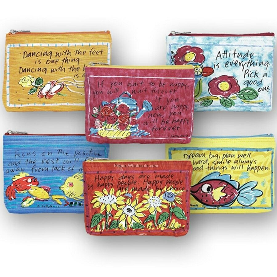 "9""x1""x6"" Happy Thoughts Coin Purses Prepack"