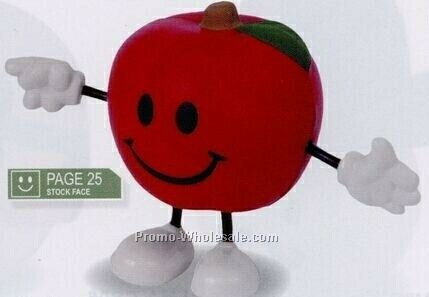 Apple Figure Stress Reliever - Happy Grin Face