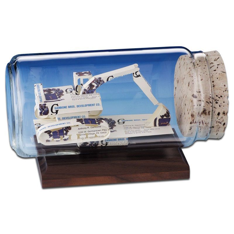 Business Card In A Bottle Sculpture - Excavator