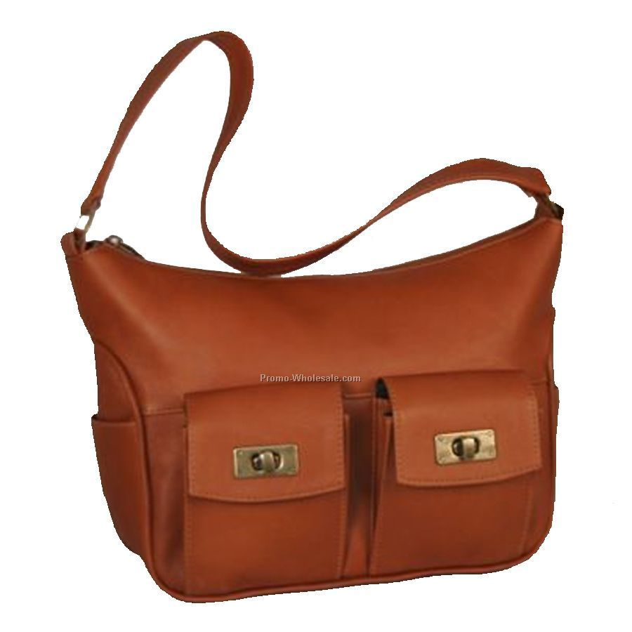 Double Turn Lock Handbag