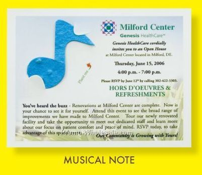 Floral Seed Paper Pop-out Post Card - Musical Note