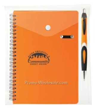 Helix Pen Combo In Envelope W/ Double Spiral Bound Notebook