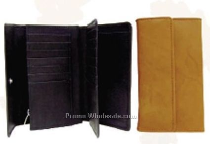 "Ladies' Brown 7"" Stone Wash Cowhide Gusseted Checkmate Wallet"
