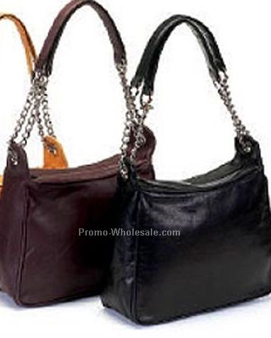 Ladies Handbag In Cow Leather With Metal Chain