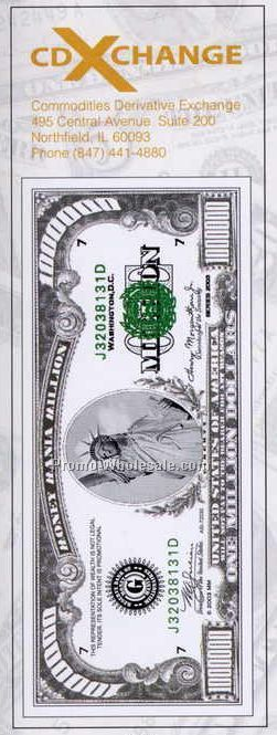 Laminated Million Dollar Bill Bookmark