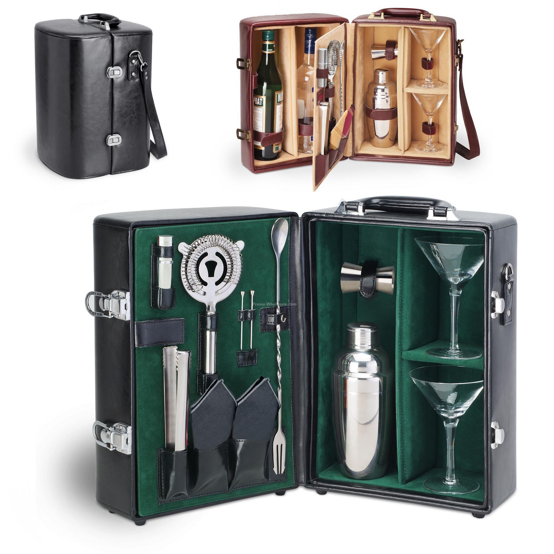 Legacy - Manhattan Insulated 2-bottle Fully Outfitted Cocktail Case
