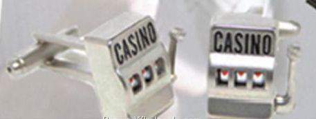 Polished Silver Metal Casino Slot Machine Cufflinks