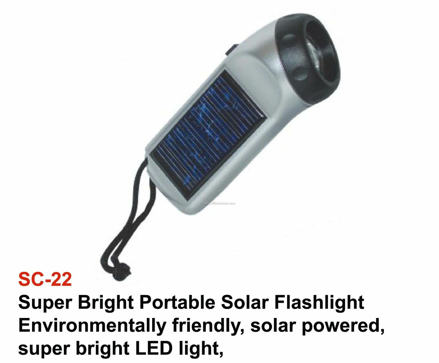 Solar Flashlight. White LED Light. On/Off Switch. Rechargeable Batteries.