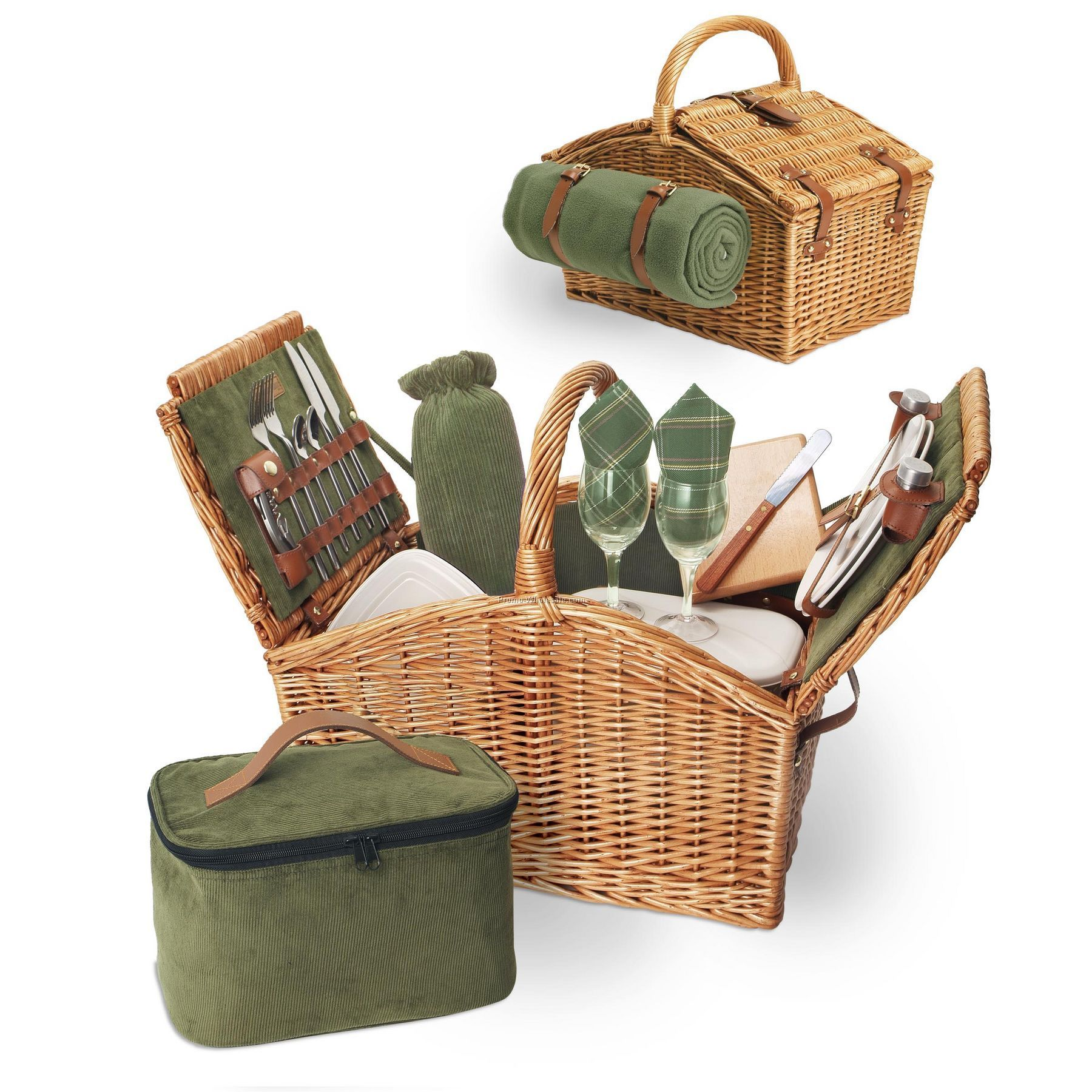 Somerset English Style Willow Picnic Basket With Service For 2