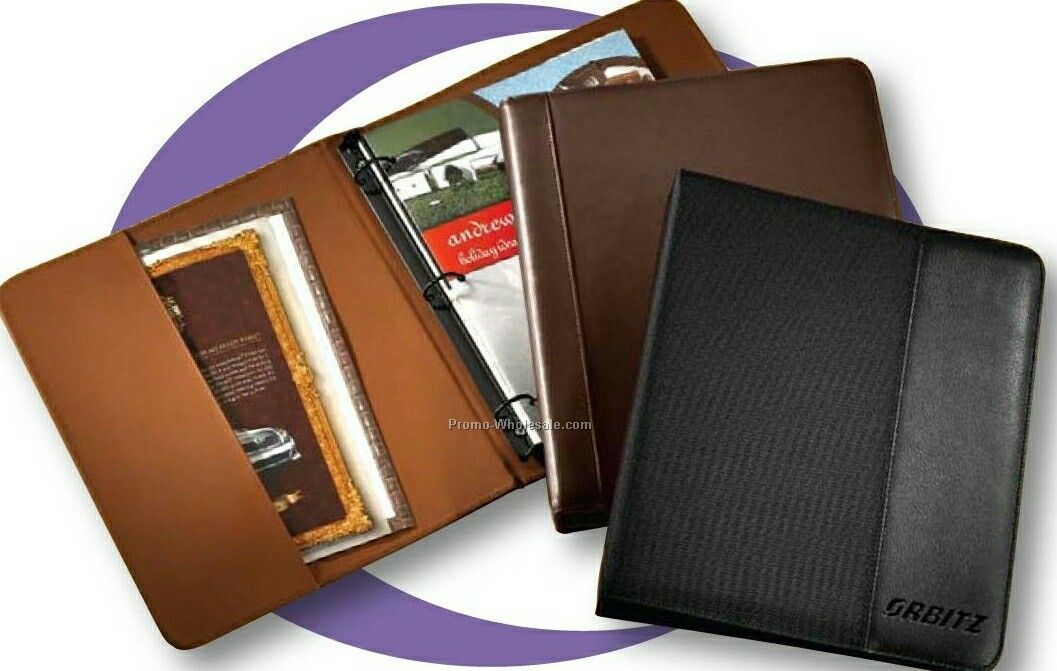 Synthetic Leather Slim Line Passport/ Document Three Ring Binder
