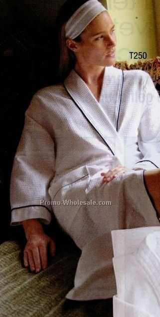 Towels Plus By Anvil Deluxe Waffle Robe (1 Size) - Embroidery